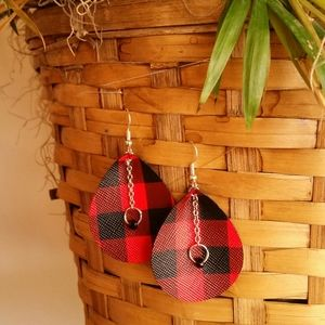 NWT: Red & Black Plaid Faux Leather Earrings
